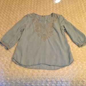 Embroidered Light wash Chambray Top